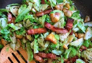 Brussels sprouts with Chestnuts and streaky bacon