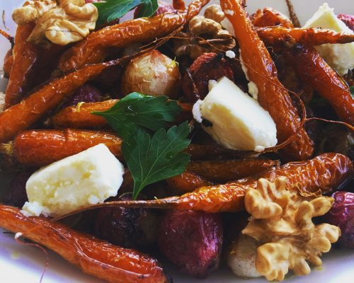 Roast Root Vegetable Salad with Goat's cheese