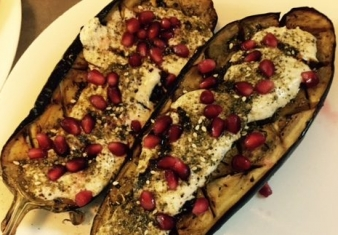 Baked eggplant with labneh and pomegranate
