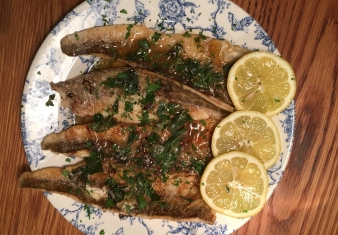 Whiting with saltbush sauce