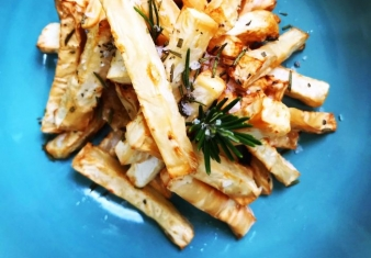 Celeriac Chips with Rosemary Salt
