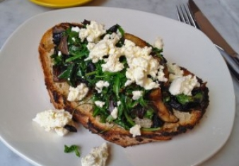 Pan-fried mushrooms with feta and silverbeet
